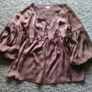 Brown lady blouse sz S by Agora